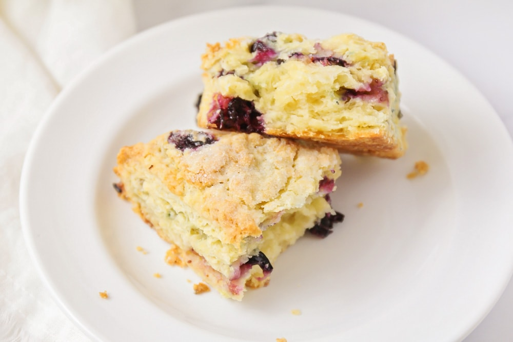 Two blueberry scones on a white plate
