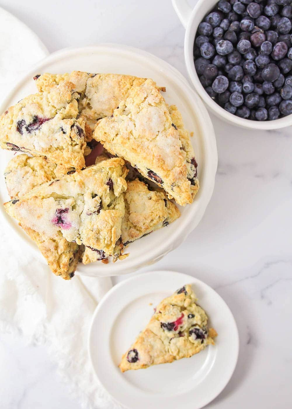 Close up of blueberry scones recipe