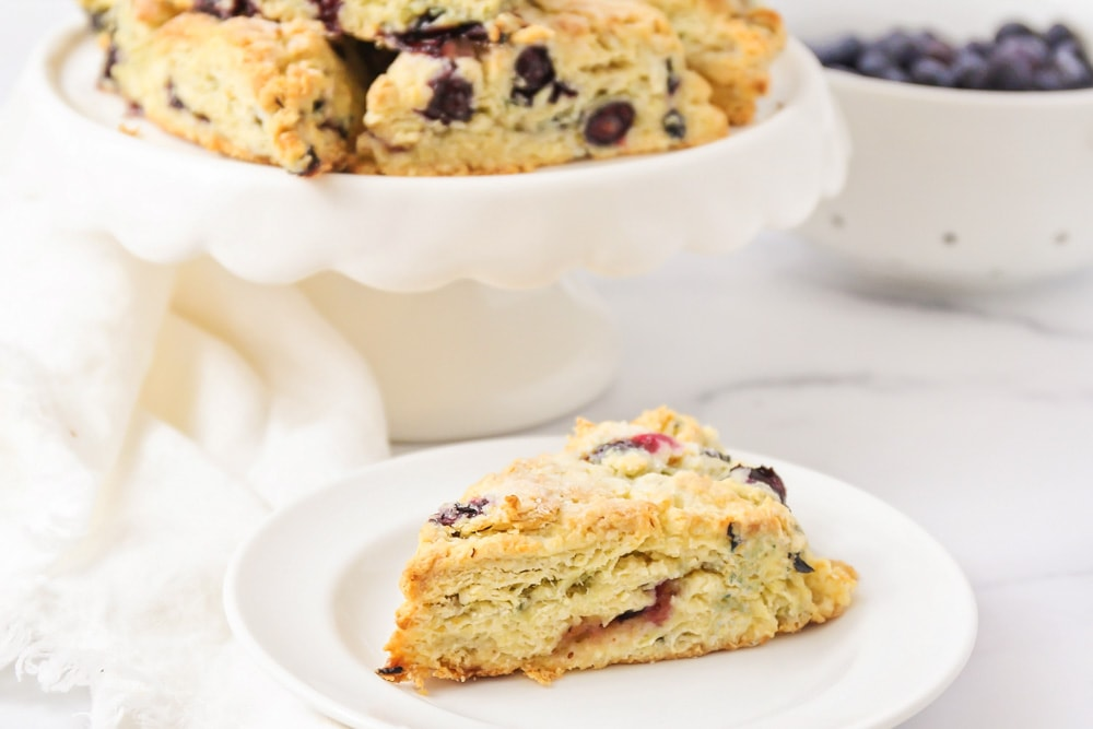 Blueberry scones on a white plate
