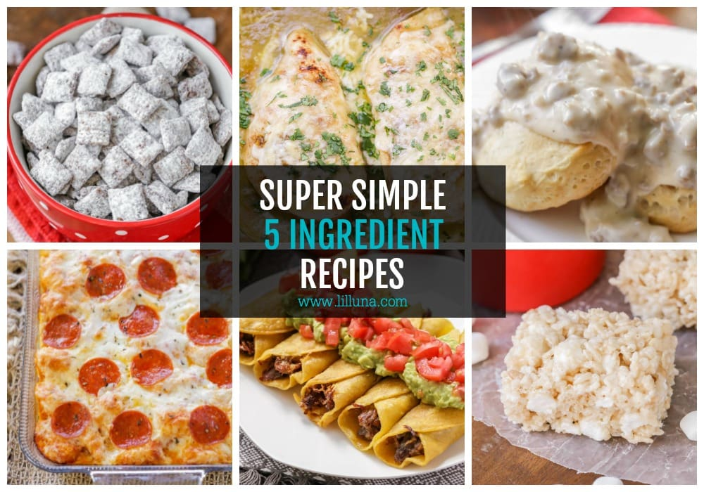 Collage of 5 ingredient recipes
