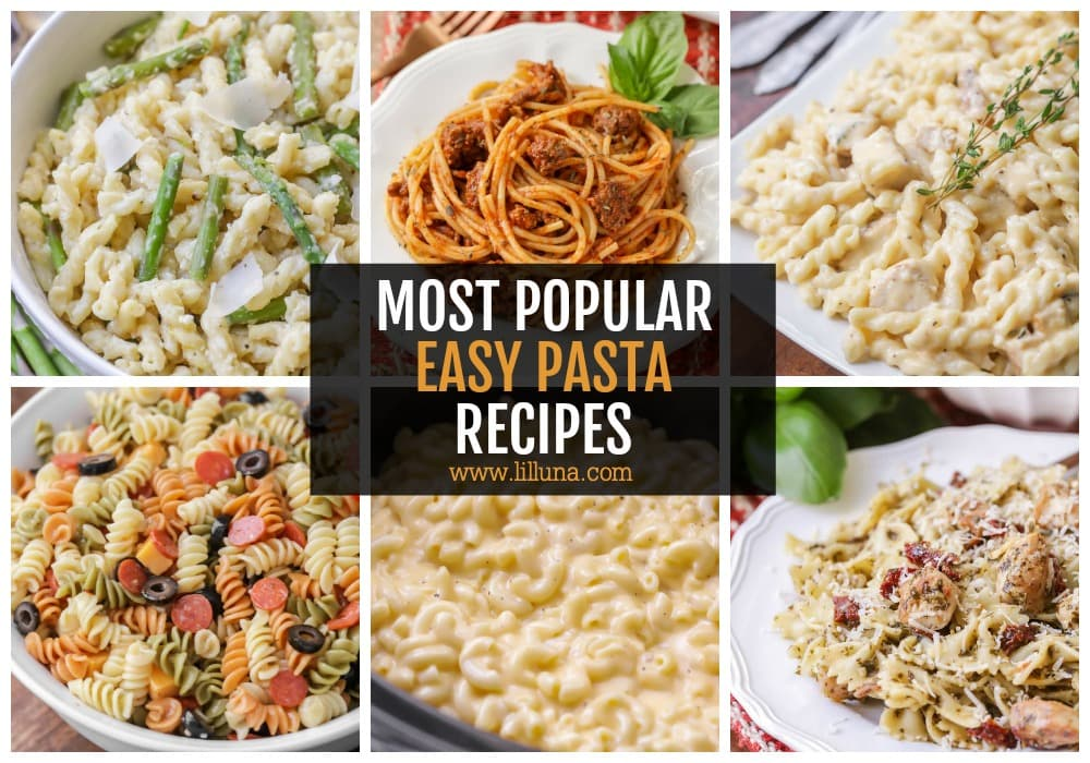 Collage of easy pasta recipes