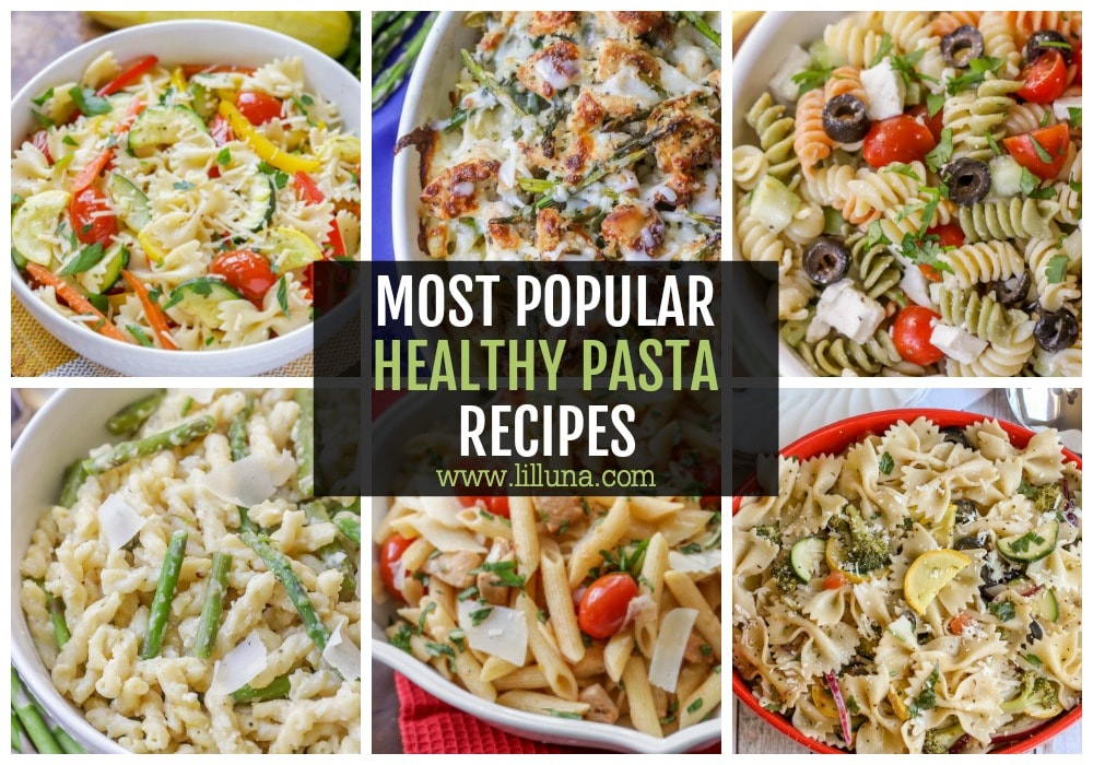 Collage of healthy pasta recipes