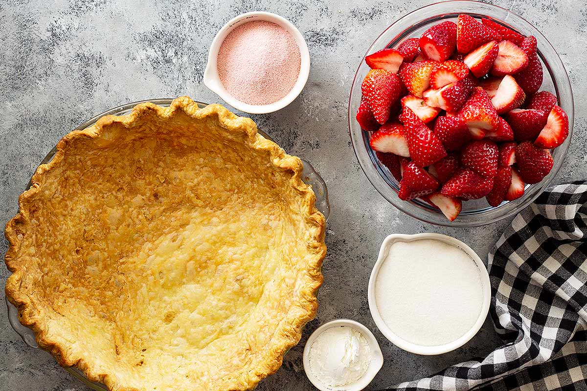 Ingredients for fresh strawberry pie recipe