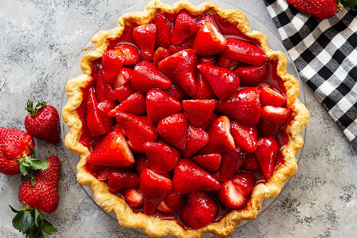 Fresh strawberry pie with a homemade crust