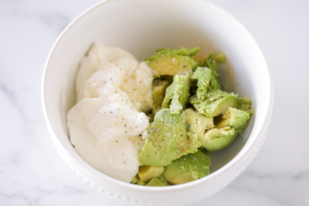 Avocado sauce ingredients in bowl