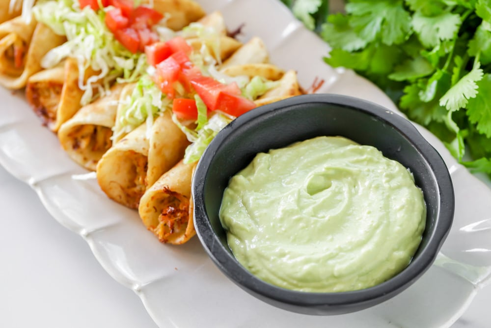 Avocado sauce for tacos and taquitos