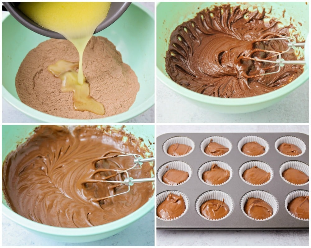 Step by step photos of how to make chocolate cupcakes