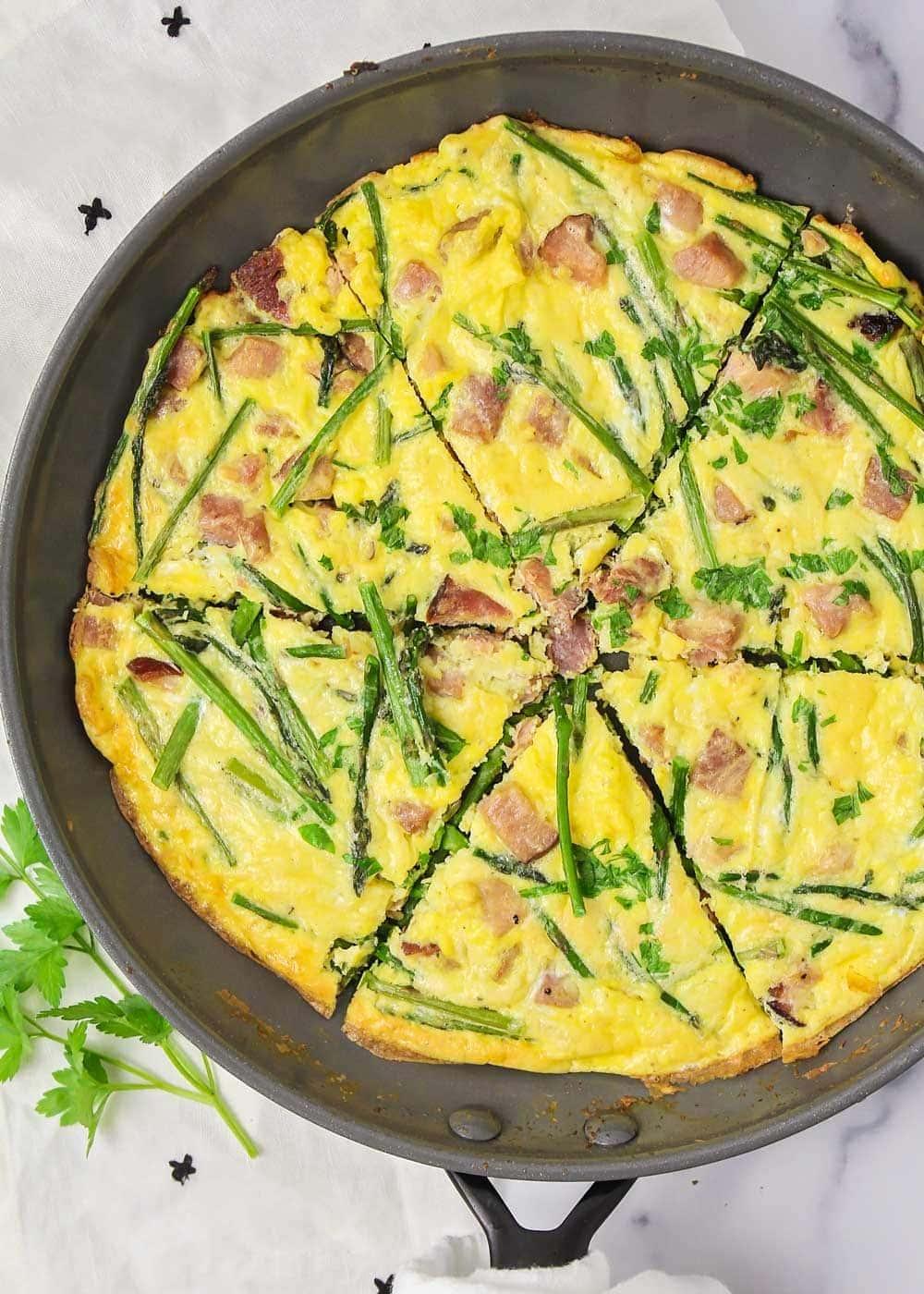 Close up of asparagus frittata recipe