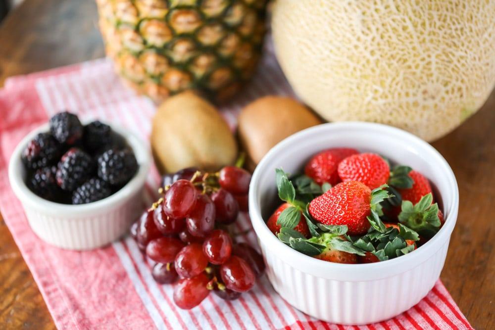 Ingredients for fruit kabobs recipe