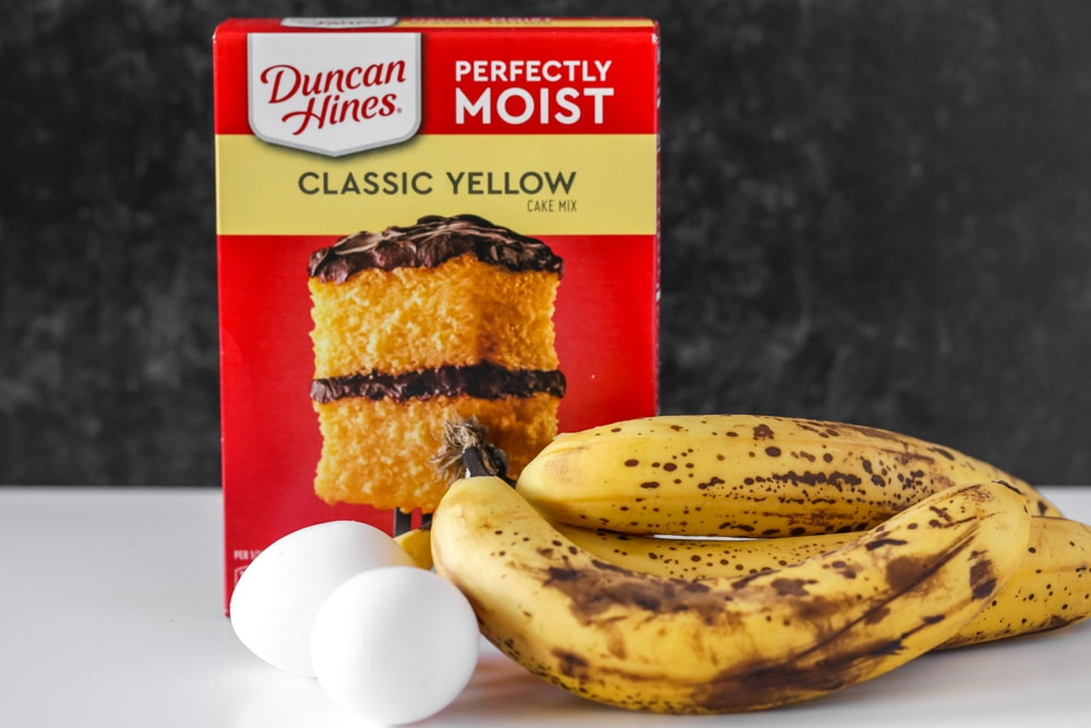 Yellow cake mix, overripe bananas and eggs