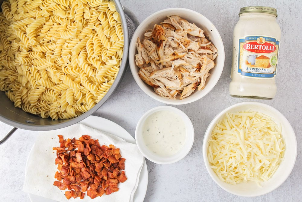 Ingredients for chicken bacon ranch casserole recipe