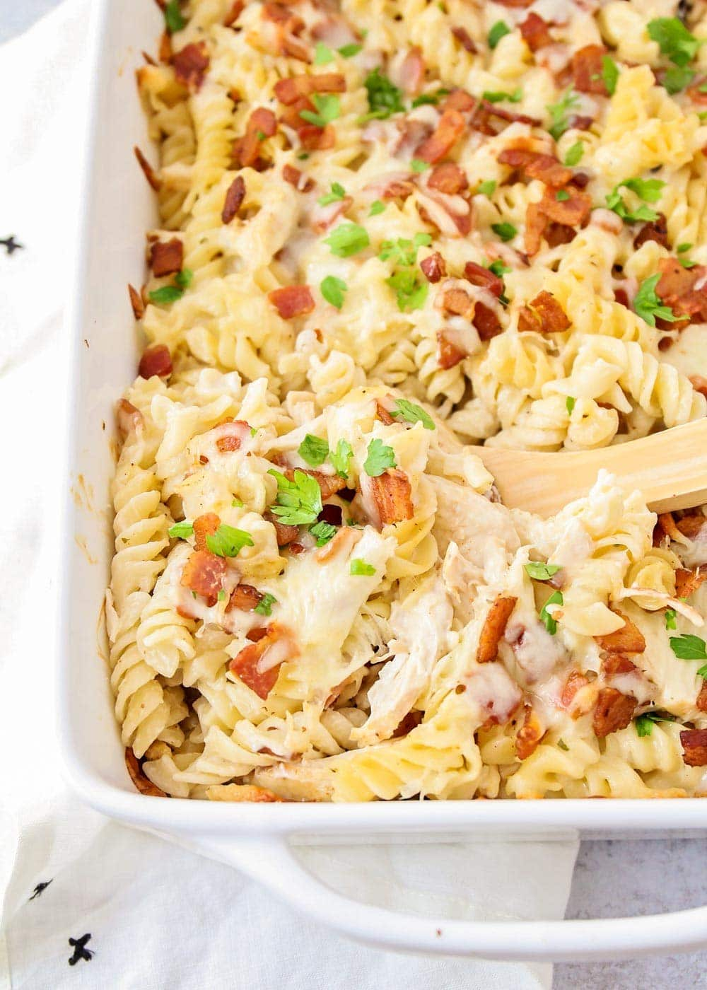 Close up of chicken bacon ranch casserole in a casserole dish