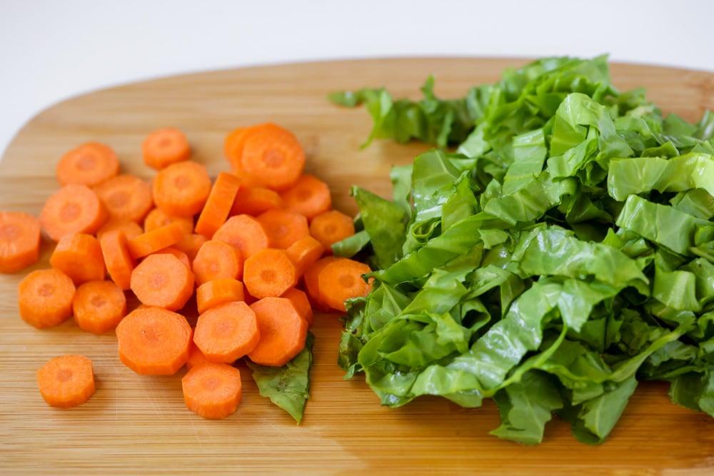 Chopped carrots and escarole