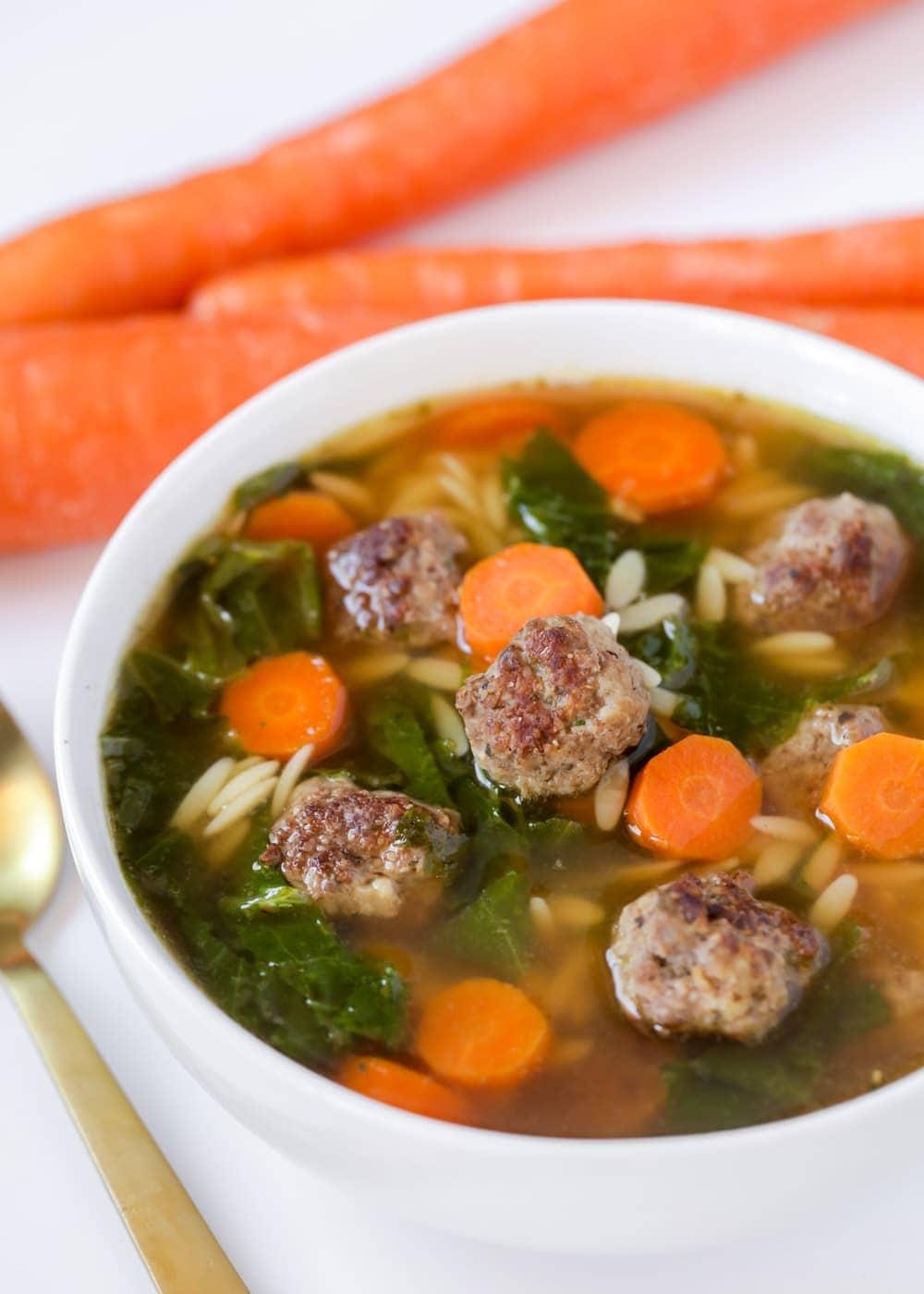 Italian wedding soup recipe close up image