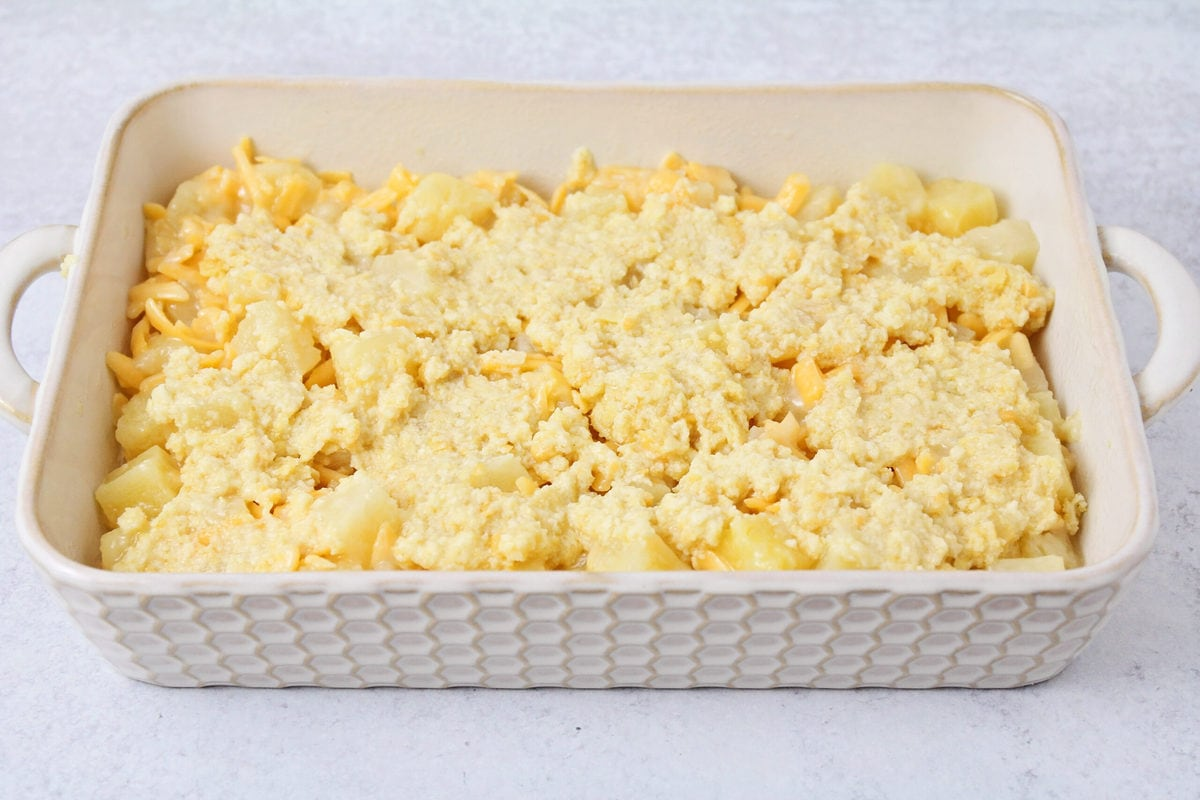 Pineapple cheese casserole in a baking dish