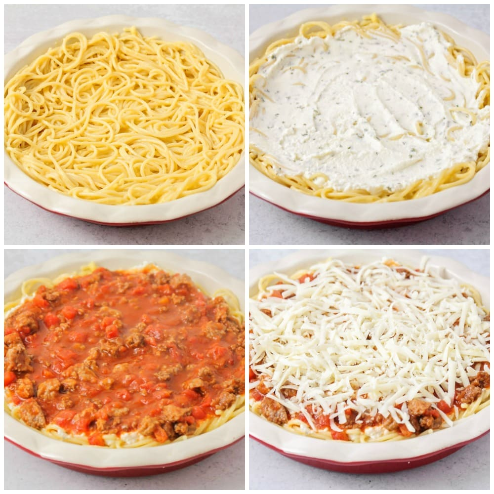 Step by step pictures of layering spaghetti pie