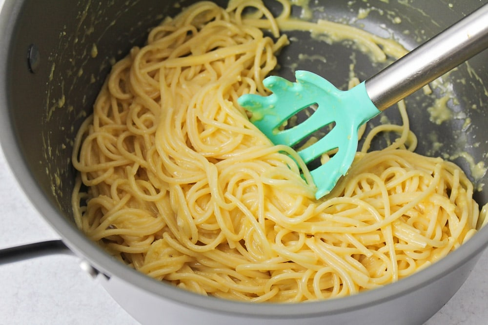 Cooked spaghetti to be used in spaghetti pie recipe