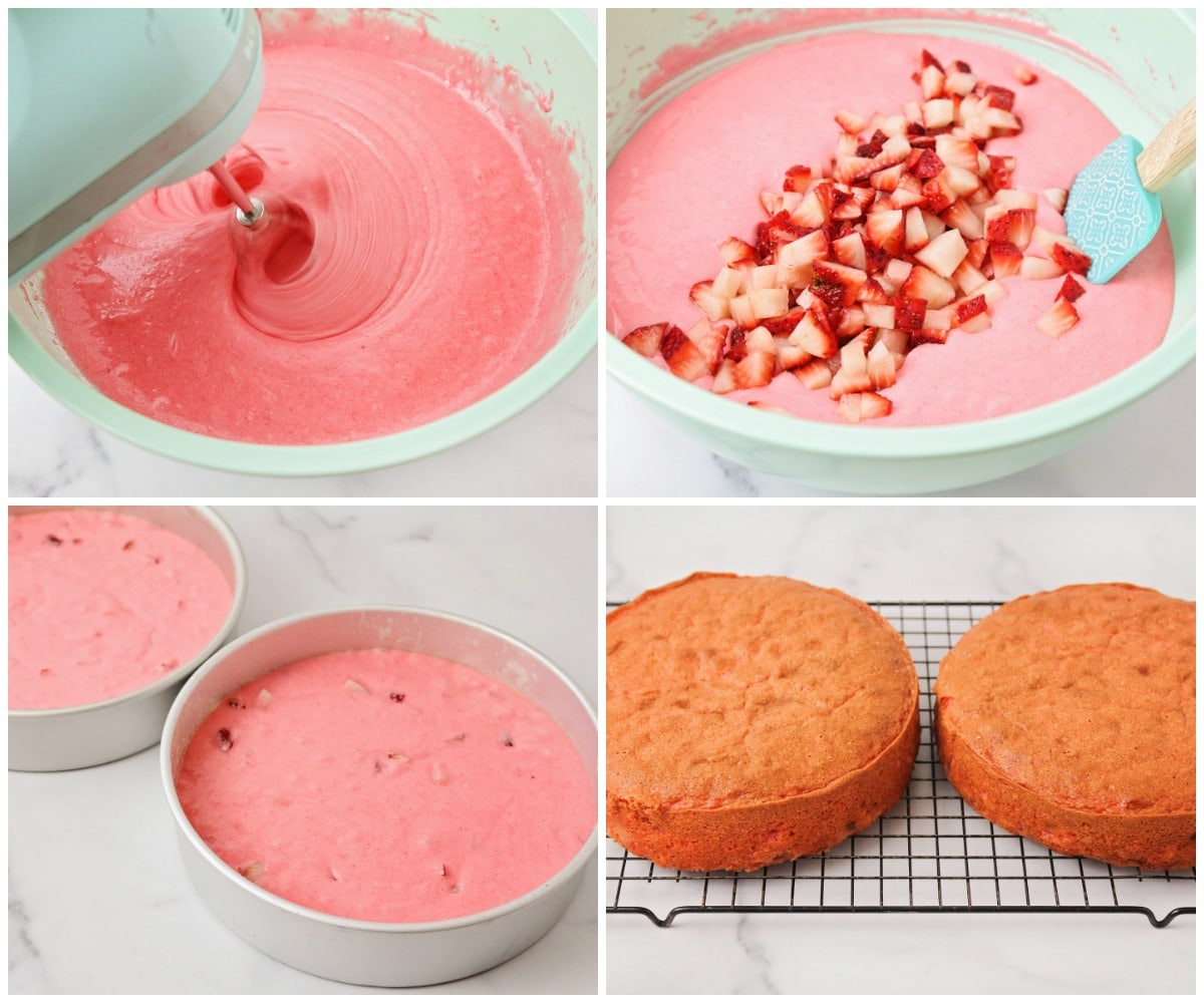 Step by step pictures for making homemade strawberry cake