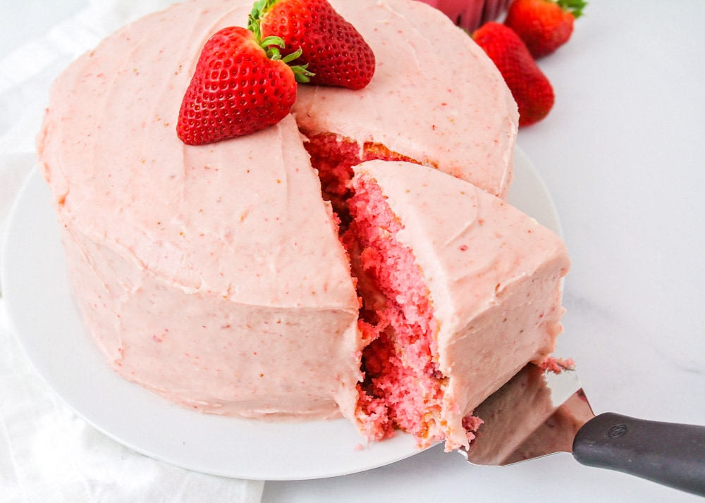 Strawberry frosting recipe on strawberry cake