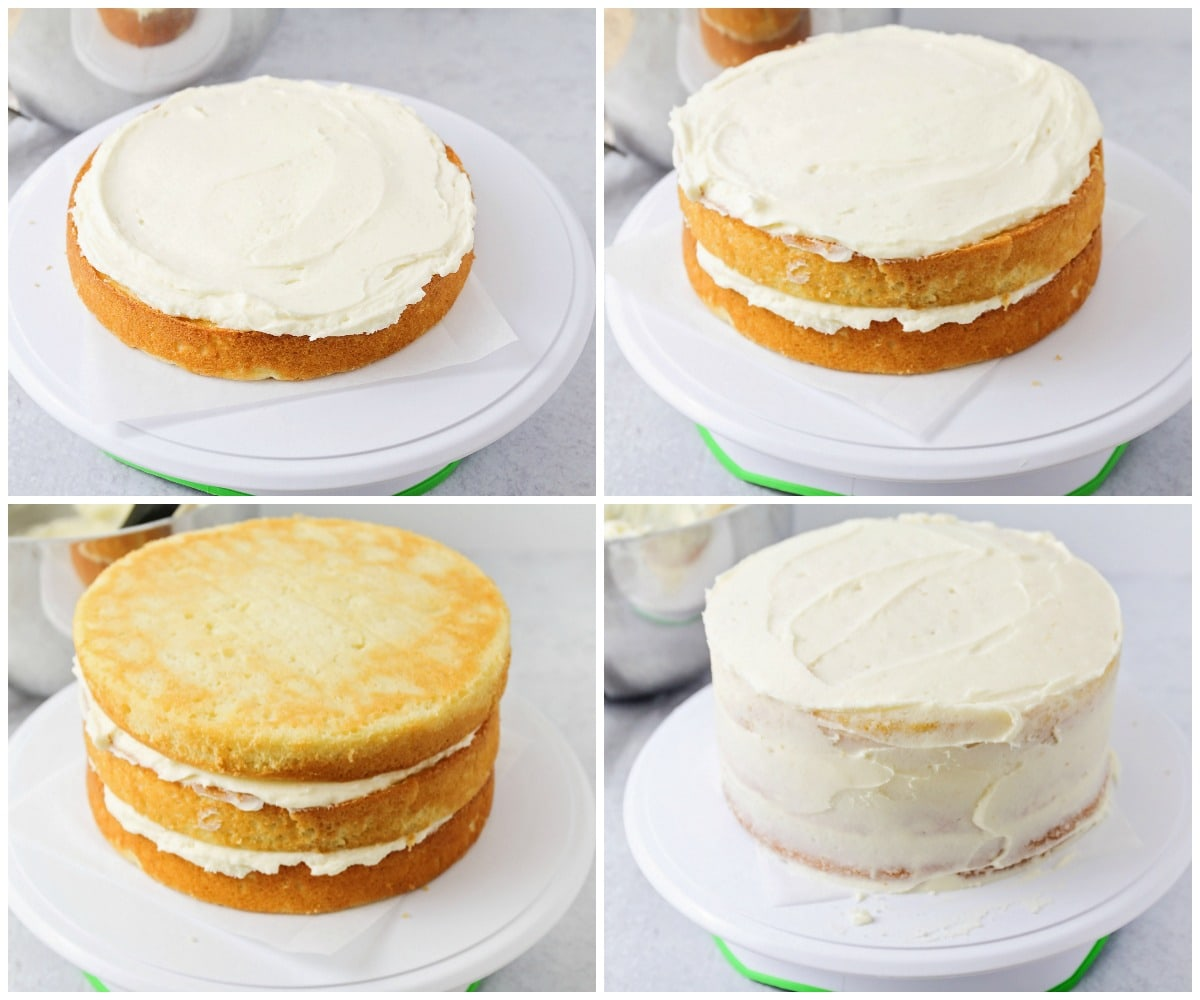 Step by step photos of layering homemade vanilla cake