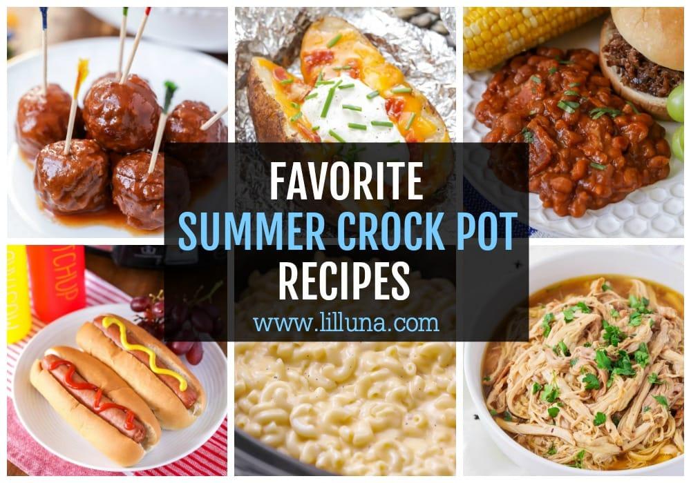Collage of summer crock pot recipes