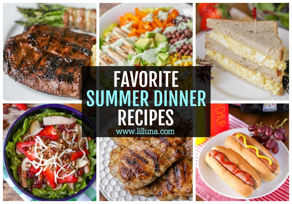 Collage of summer dinner recipes