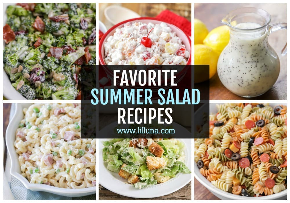 Collage of summer salad recipes