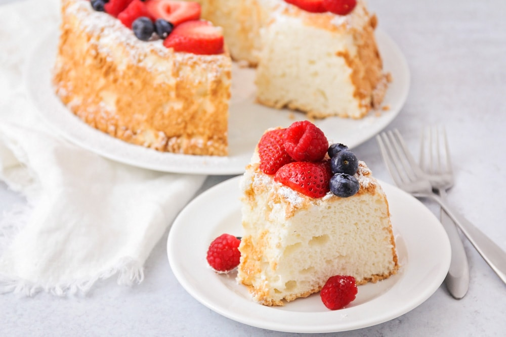 Angel food cake recipe slice on plate