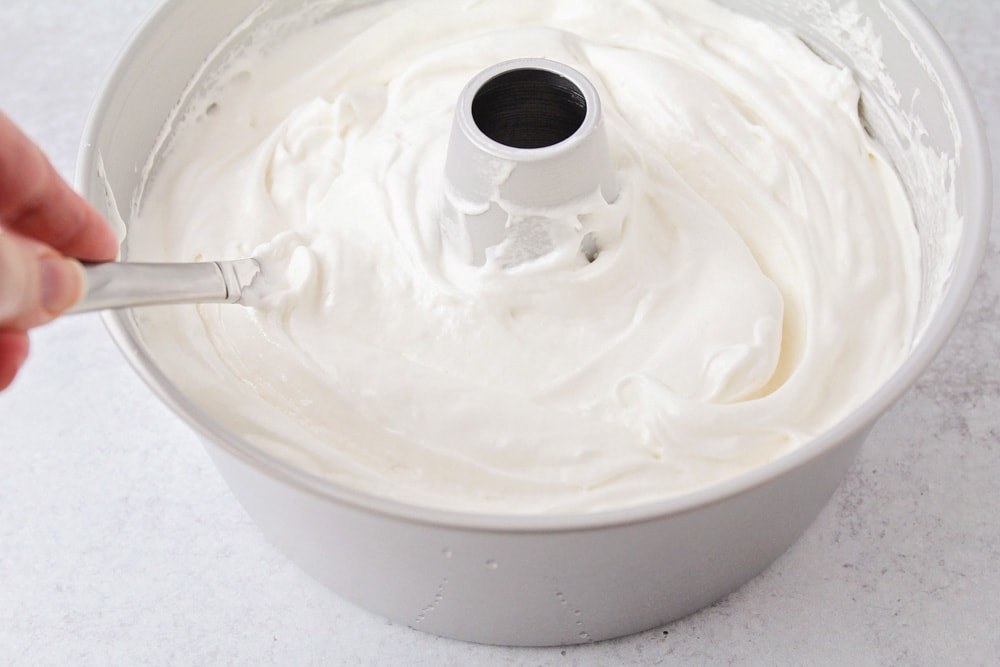 Angel food cake batter in pan