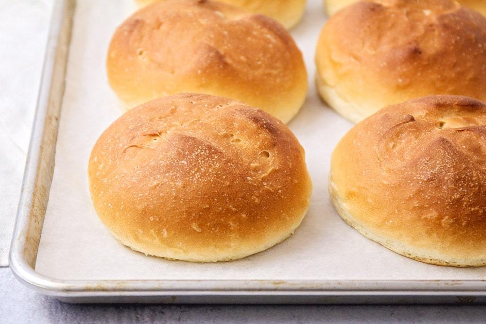 Bread bowls on baking sheet