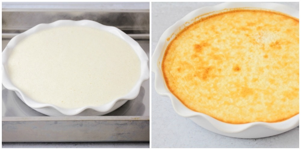Flan dessert before and after being baked in the oven