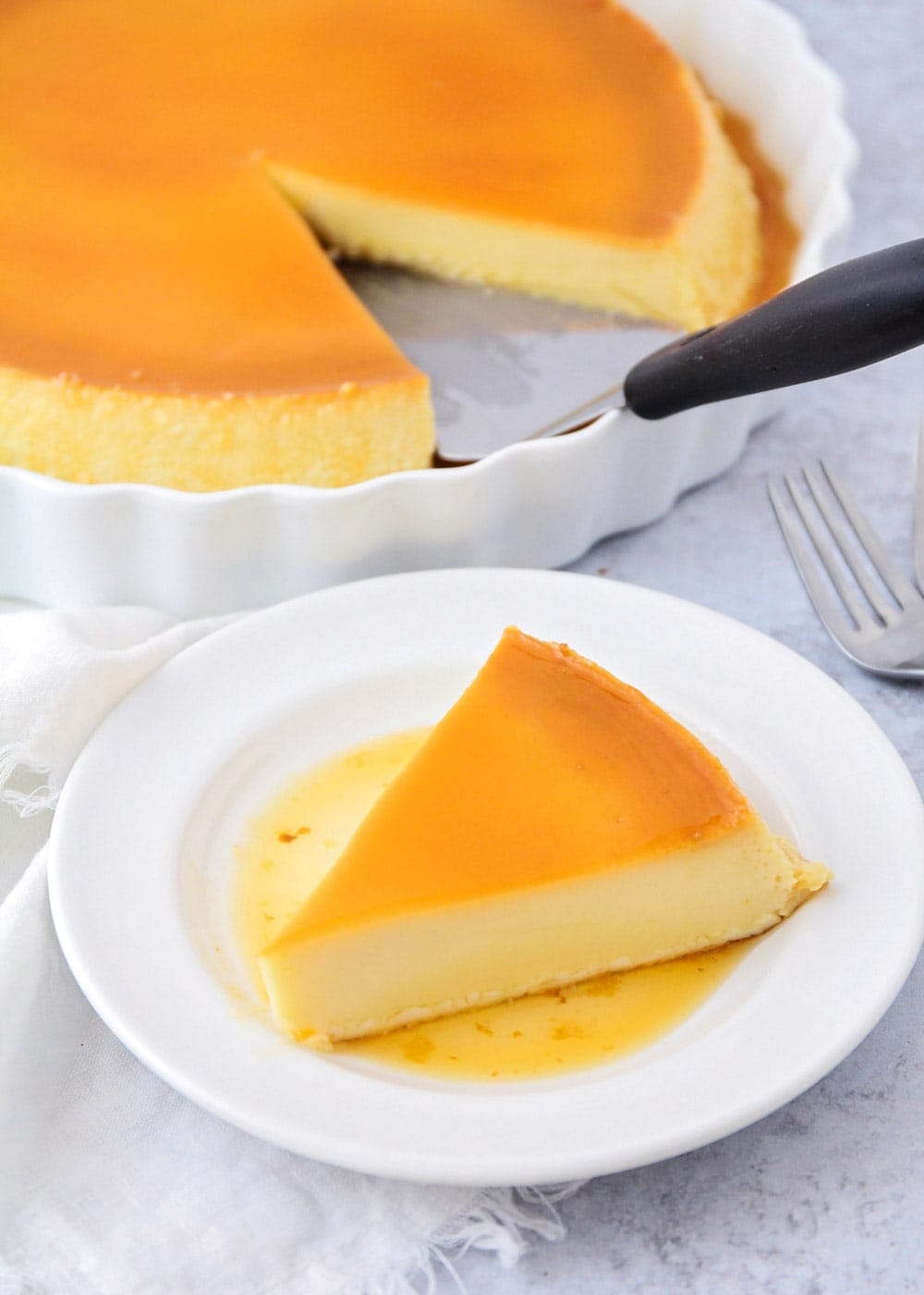Close up of a flan recipe