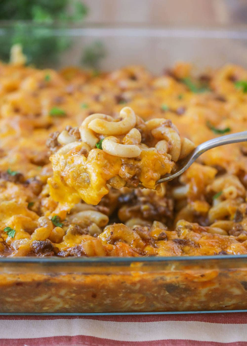 Close up on hamburger casserole recipe