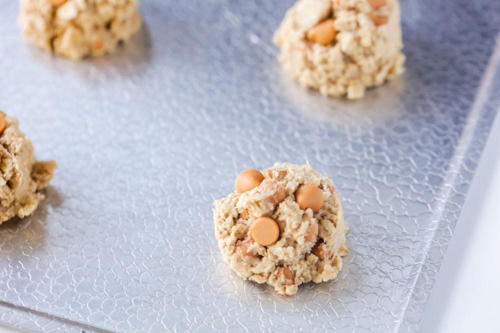 Oatmeal butterscotch cookies on cookie sheet