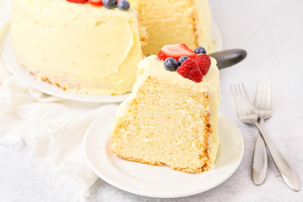 Chiffon cake slice on plate