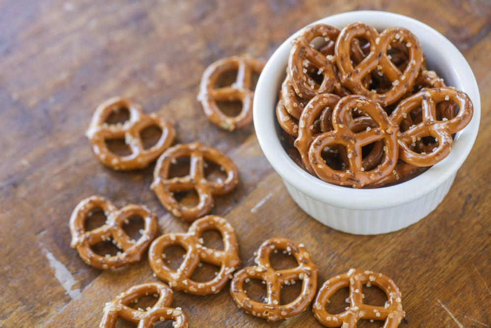 Plain salted pretzels before being dipped in chocolate