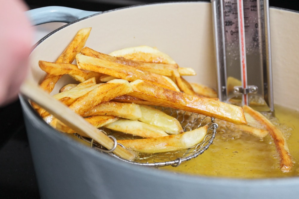 Homemade french fries in oil