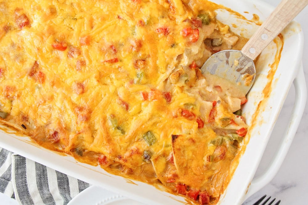 King Ranch Chicken Casserole recipe in baking dish