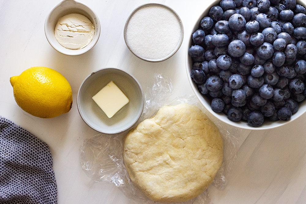 Ingredients for blueberry galette recipe