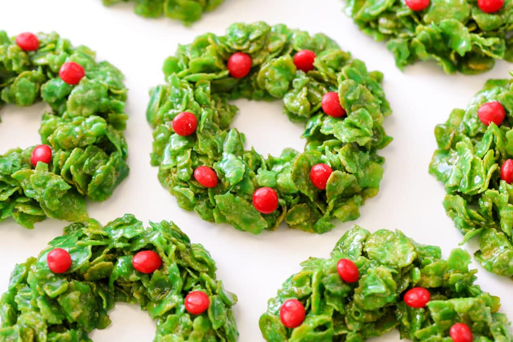 Christmas wreath cookies with cinnamon candies