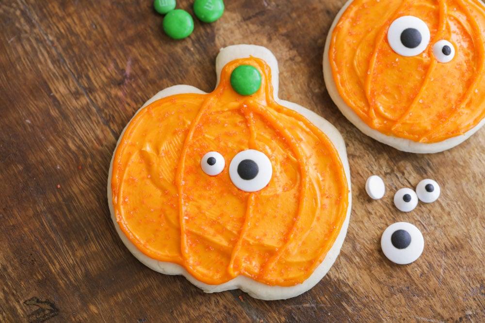 Candy eyeballs on Halloween sugar cookies