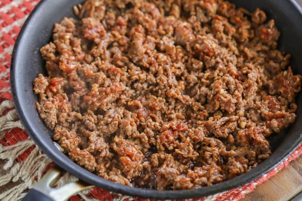 Chorizo in a skillet