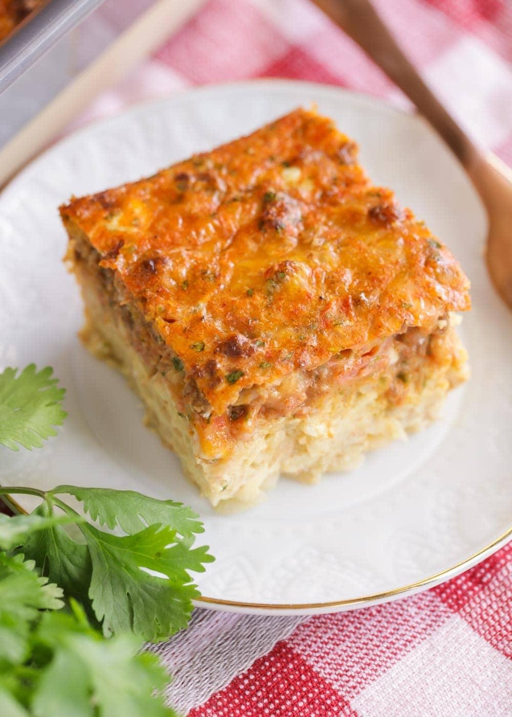 A slice of easy Mexican breakfast casserole