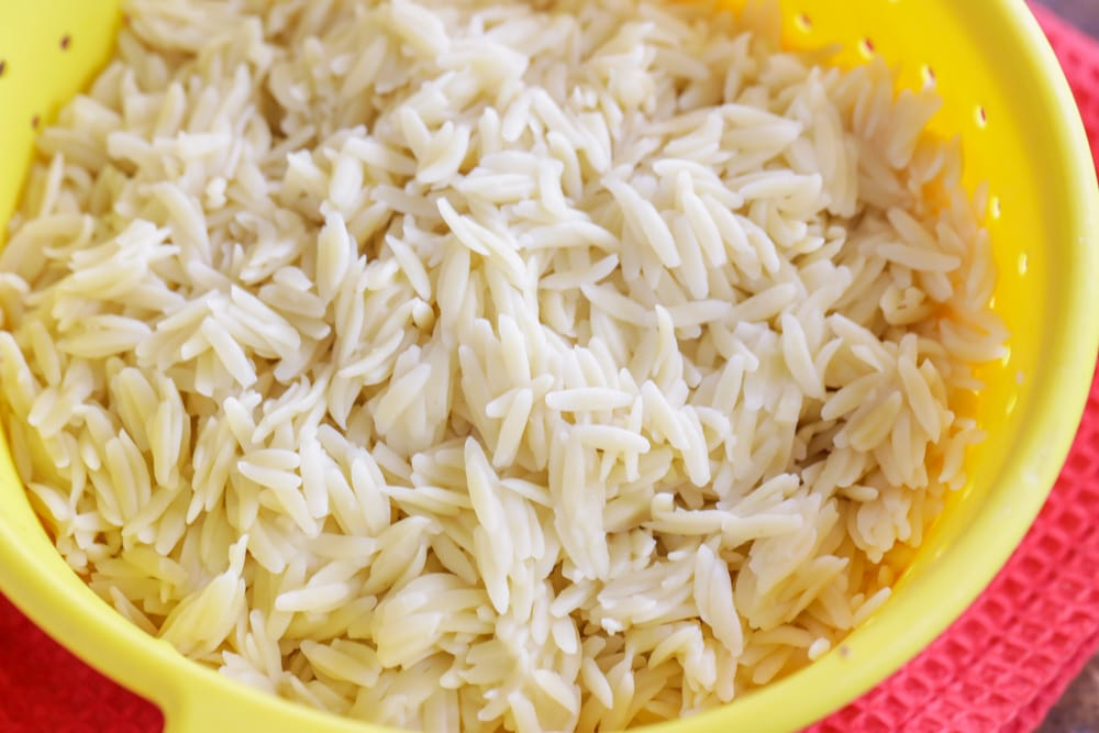 Cooked orzo for orzo salad recipe