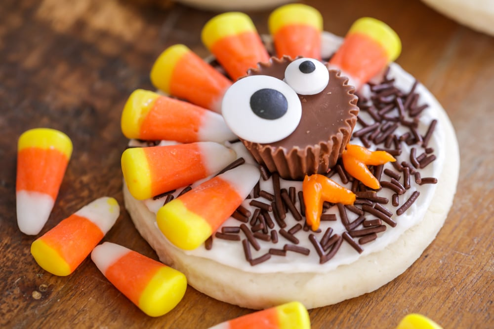 A sugar cookie decorated with candy to look like a turkey