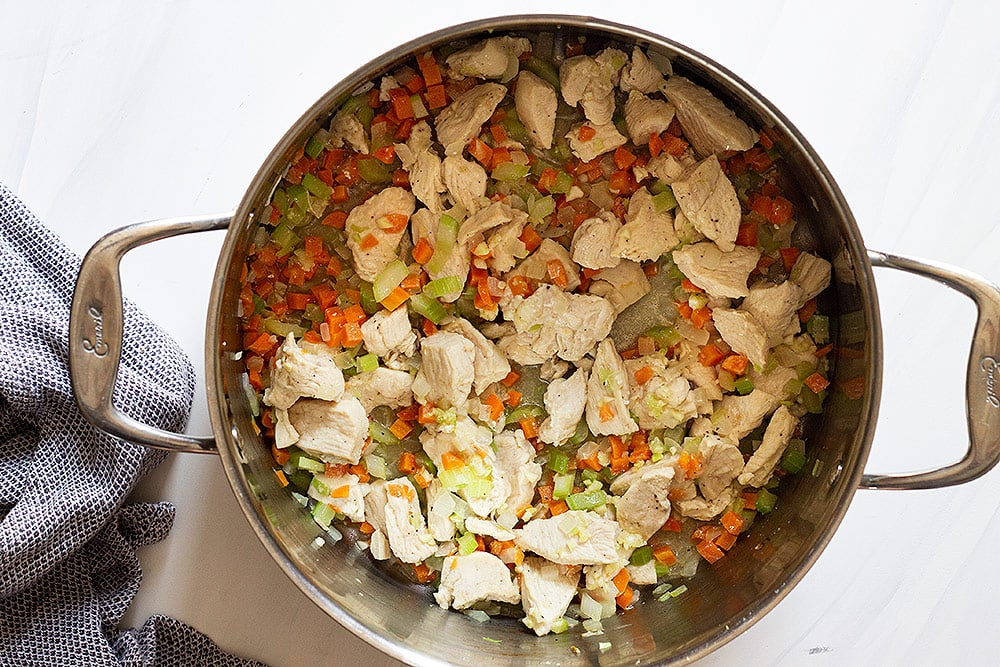chicken and orzo have a stock pot