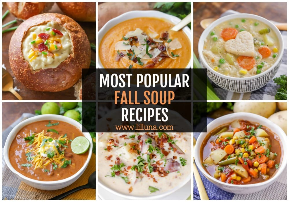 Collage of fall soups