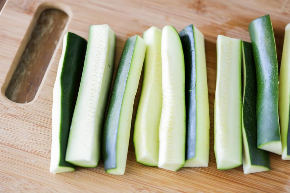 Fresh zucchini cut into sticks