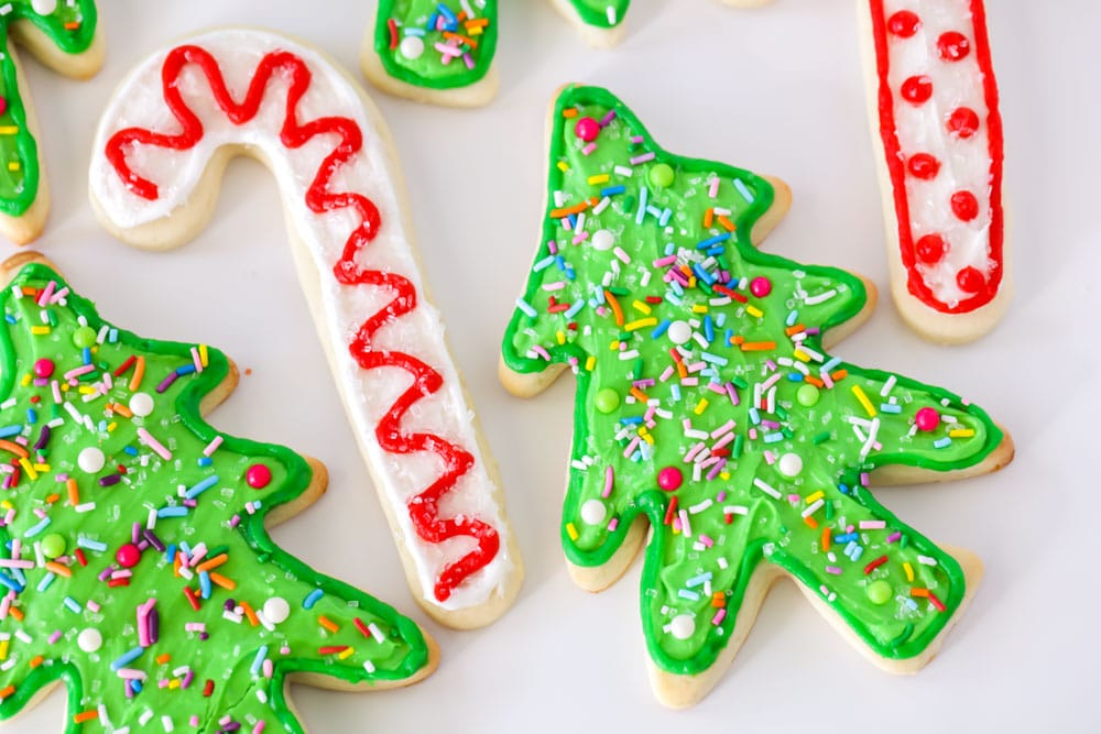 Christmas Sugar Cookies in the shape of candy canes and trees