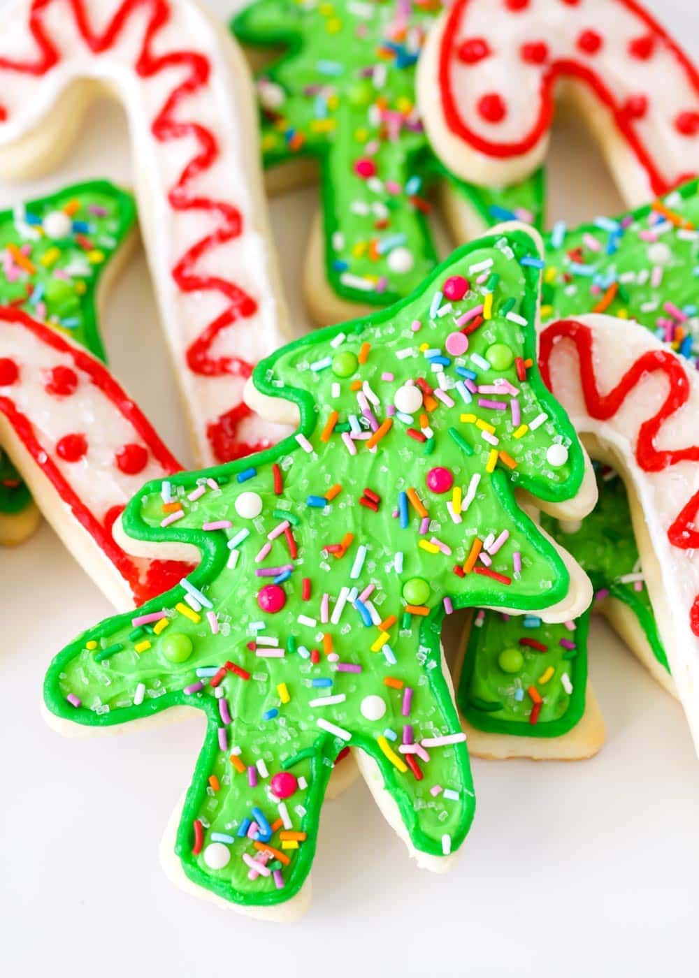 A pile of Christmas sugar cookies